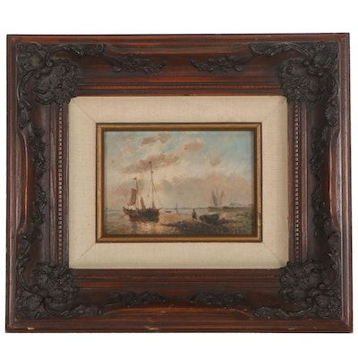 Nautical Oil Painting of Ships at Sea