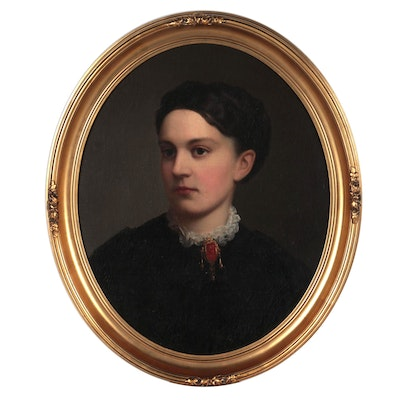 Oval Portrait Oil Painting, Late 19th Century
