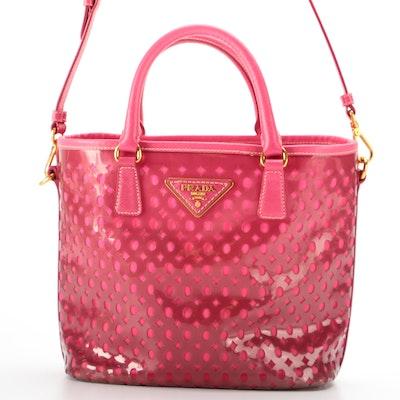 Prada Tote Bag in Pink Plex-Fori Vinyl with Saffiano Leather Trim