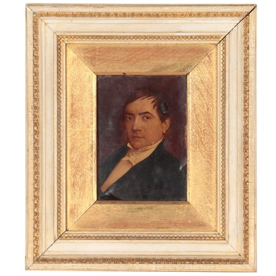 Reverse Glass Oil Painting of a Gentleman's Portrait, Early 20th Century