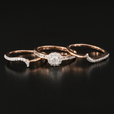 Sterling Silver Diamond Halo Ring with Contour Bands