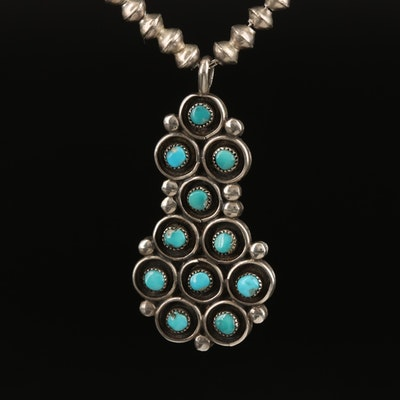 Southwestern Sterling Reversible Pendant with 800 Silver Bench Bead Necklace