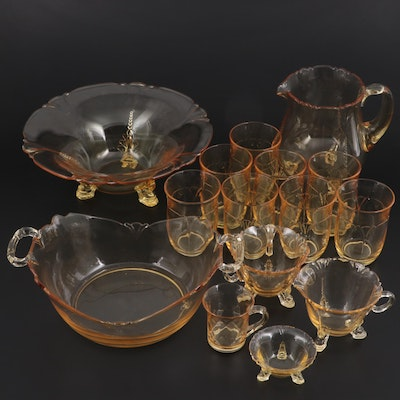 """Heisey """"Empress"""" Sahara Yellow Glass Serveware and Table Accessories, 1928–1937"""