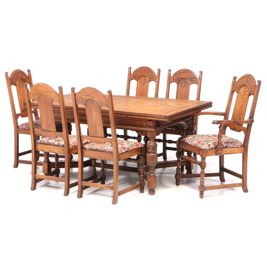 Seven-Piece Jacobean Style Carved Oak Dining Set, Early 20th Century