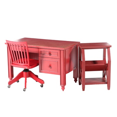Pottery Barn Kids Red-Painted Desk, Chair, and Bedside Table