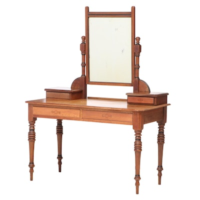 Victorian Walnut and Parcel-Ebonized Dressing Table, Late 19th Century