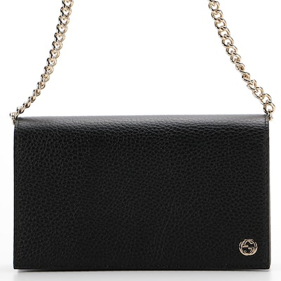 Gucci Betty Chain Wallet in Black Grained Leather