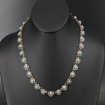 Sterling Faux Turquoise Necklace