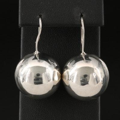 Sterling Silver Spherical Drop Earrings