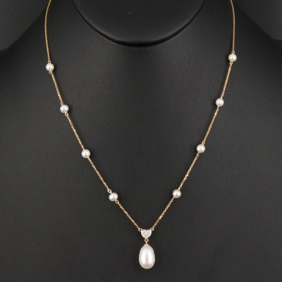 14K Pearl Necklace with Diamond Heart Accent