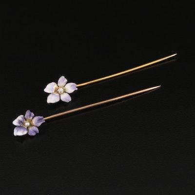 Art Nouveau 14K Pearl, Diamond and Enamel Pansy Stick Pins