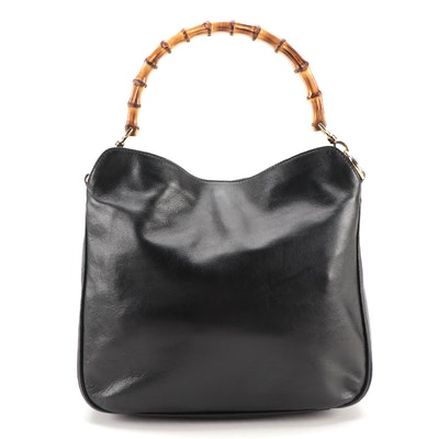 Gucci Bamboo Black Leather Hobo Bag