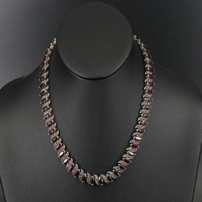 Vintage Sterling Garnet and Marcasite Necklace