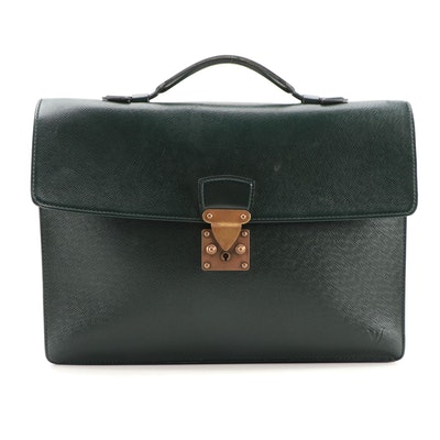 Louis Vuitton Serviette Kourad Briefcase in Épicéa Taïga Leather