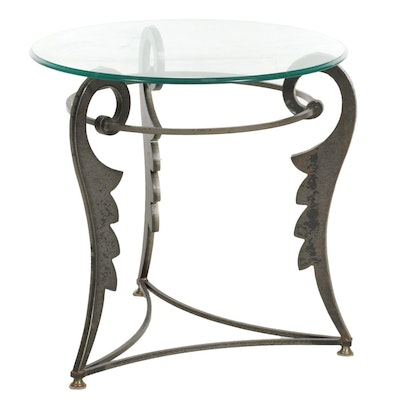 Contemporary Metal and Glass Top Tripod Side Table