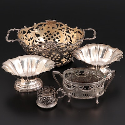 Hanau with Other 800 Silver Salt Cellars and Tableware, Late 19th Century