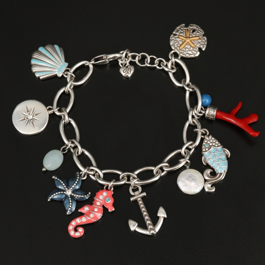 Brighton Tropical Themed Charm Bracelet Including Pearl Quartz, Imitation Coral