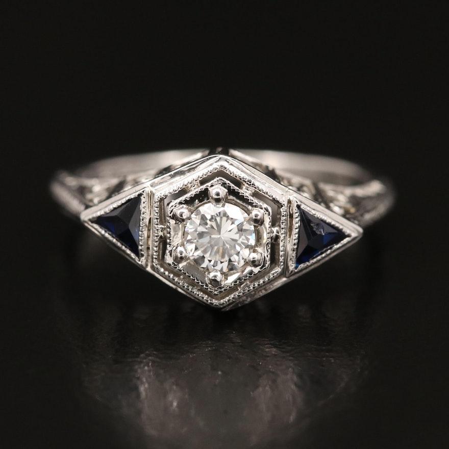 1930s Belais Bros. 18K Diamond and Sapphire Openwork Ring
