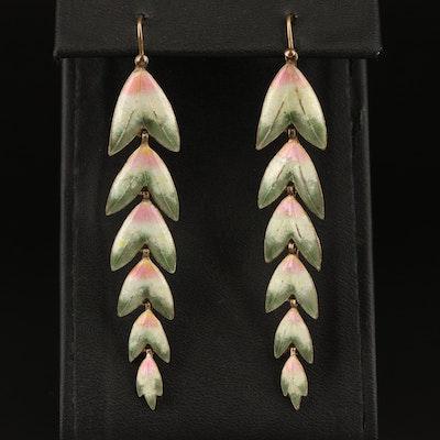 Sterling Enamel Foliate Drop Earrings
