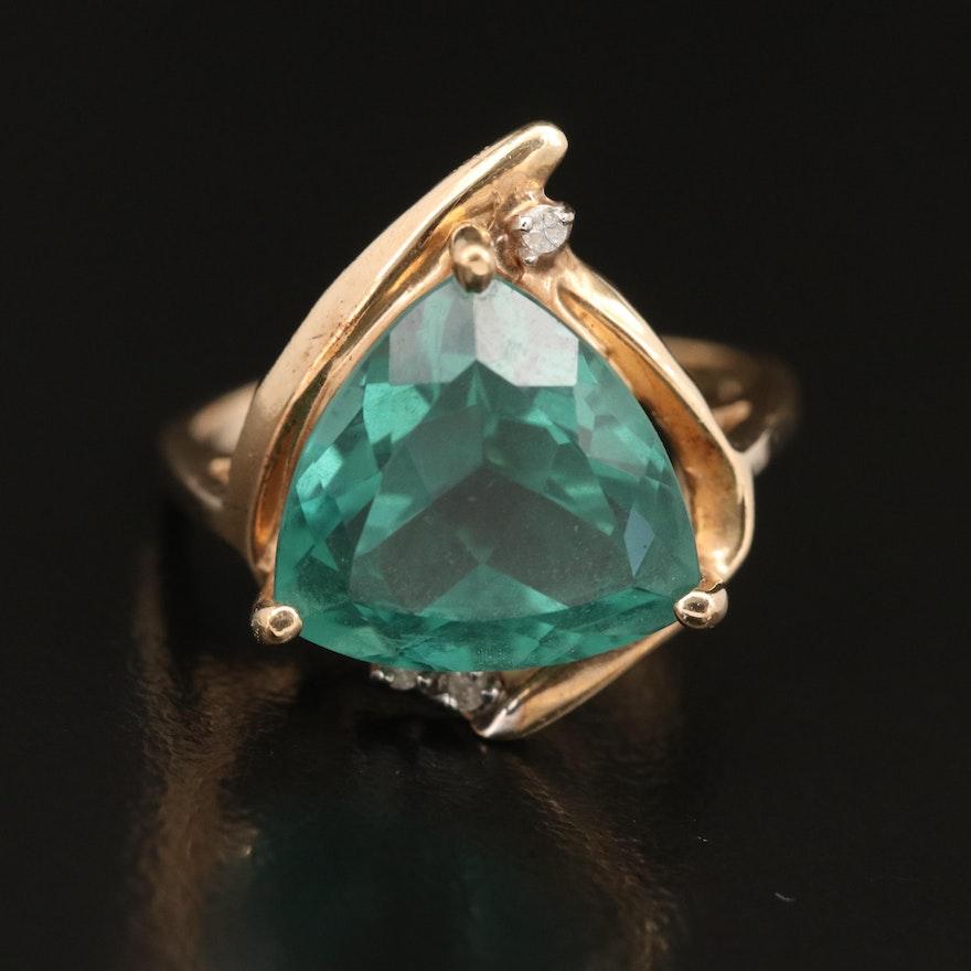 10K Quartz and Diamond Ring