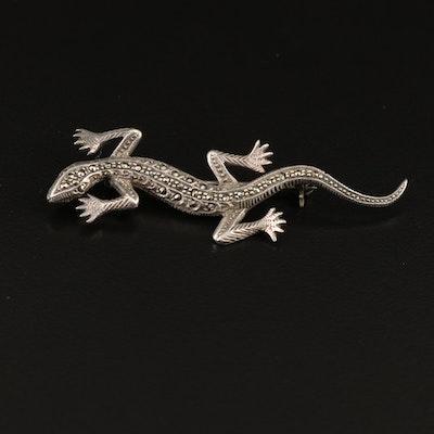 Sterling Marcasite Lizard Brooch