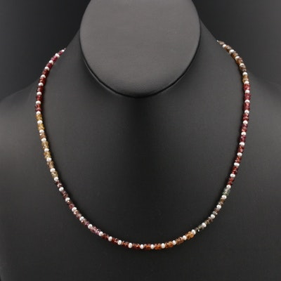 Pearl, Garnet and Tourmaline Beaded Necklace with Sterling Clasp