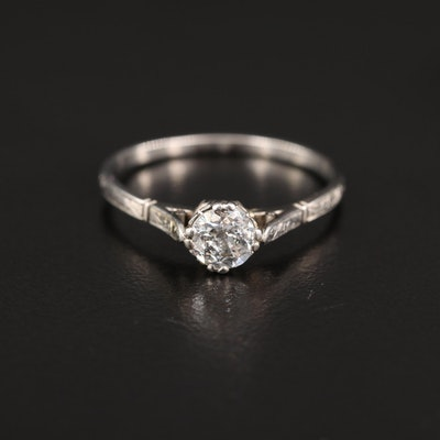 Antique Platinum Diamond Cathedral Ring with Engraved Details