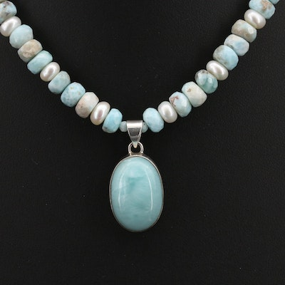 Sterling Larimar and Pearl Beaded Pendant Necklace