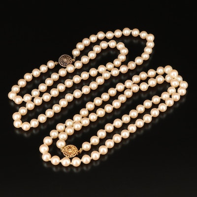 Faux Pearl Matinee Length Necklaces with Sterling Clasps