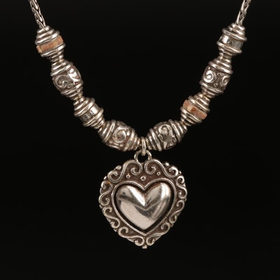 Brighton Heart Pendant Necklace with Leather Accent