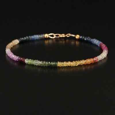 Multicolored Sapphire and Ruby Beaded Bracelet with 18K Clasp