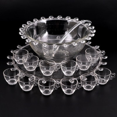 """Heisey """"Lariat"""" Glass Punch Bowl, Under Plate, Ladle and Cups, 1942–1957"""