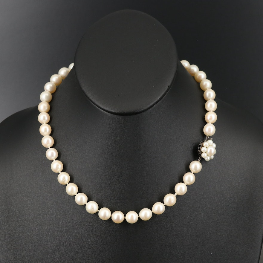 Pearl Choker Length Necklace with Sterling Pearl Floral Clasp