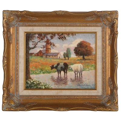 """Thelma Leaney Butler Oil Painting """"English Country Scene,"""" 1986"""
