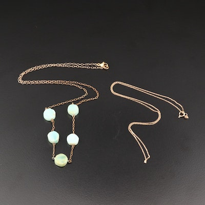 14K Cobra Chain with Sterling Silver Common Opal Necklace