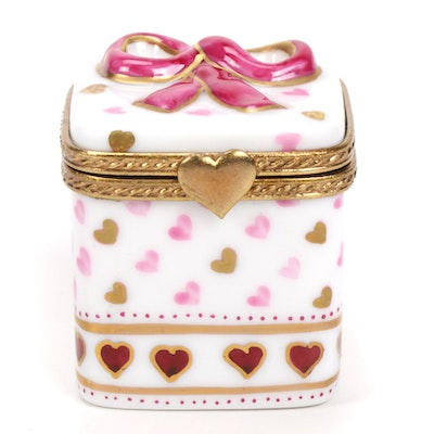 La Seynie Valentine Themed Porcelain Limoges Box with Candy Hearts