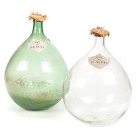 French Vin De Beaune and Vin De St. Aubin Hand Blown Glass Demijohns, Antique