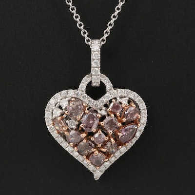 18K 2.23 CTW Diamond Cluster Heart Pendant on 14K Necklace with GIA Report