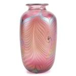 Bruce Freund Handblown Iridescent Pulled Feather Studio Art Glass Vase, 1987