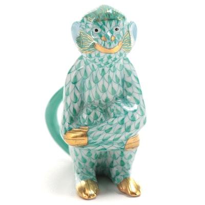 "Herend Green Fishnet ""Monkey"" Porcelain Figurine, June 1993"