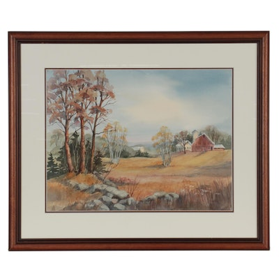 Landscape Watercolor Painting, Late 20th Century