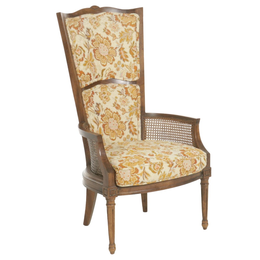 Wood and Cane High Fan-Back Armchair, circa 1970