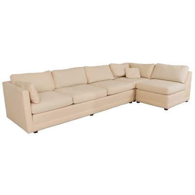 Baker Modernist Style 3-Piece Sectional Sofa with Down Seats