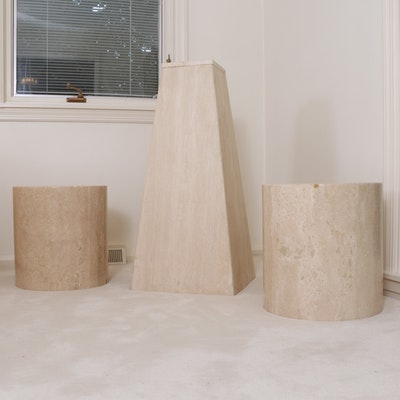 Modernist Style Stone Display Table and Column Side Tables