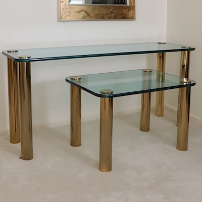 Brass and Glass Console and Side Table, Late 20th Century
