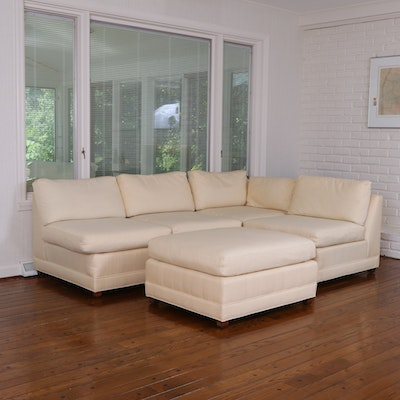 Baker Modernist Style Two-Piece Sectional Sofa and Ottoman