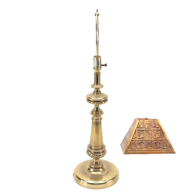 Stiffel Brass Table Lamp and Embossed Metal Shade, Late 20th Century