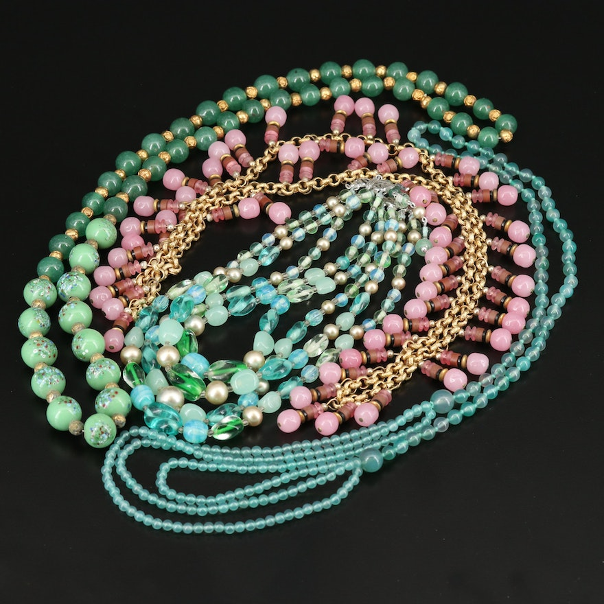 1940s Chalcedony and Glass Necklaces