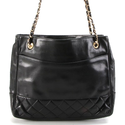 Chanel Black Quilted Leather Chain Strap Shoulder Tote