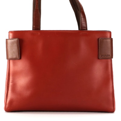 Prada Bicolor Leather Tote Bag